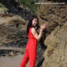 WSM Productions: Jade - red silk pyjamas at seaside - W S M update