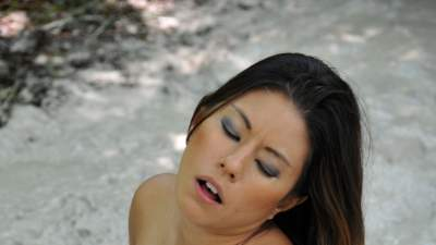 Nude girl masturbating with mud #14